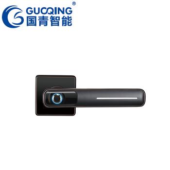 GUOQING国青智能锁 指纹锁 木门防盗门家用办公室密码电子锁 Q023半自动房门把手款 红古黑价格