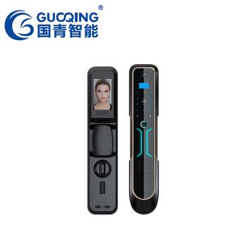 GUOQING国青智能锁 指纹锁 木门防盗门家用办公室密码电子锁G2全自动可视猫眼智能锁 玫瑰金价格