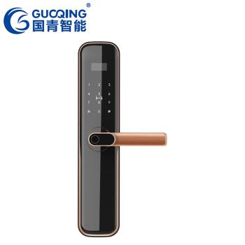 GUOQING国青智能锁 指纹锁 木门防盗门家用办公室密码电子锁Q021半自动一握开智能锁 红古铜价格